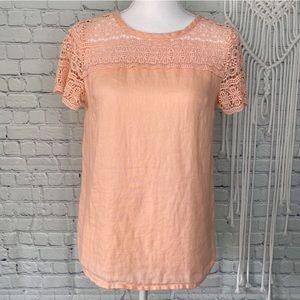 J Crew linen lace pink top
